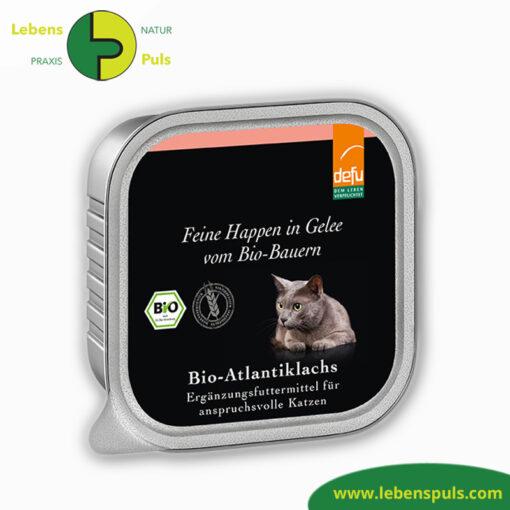 Defu Felderzeugnisse Bio Katzen Nassfutter Feine Happen in Gelee Atlantik Lachs Produkt